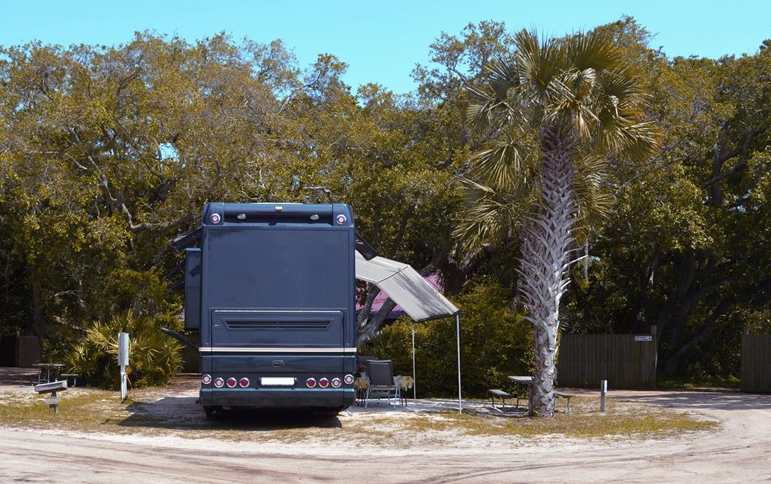 Motorhome at campsite.
