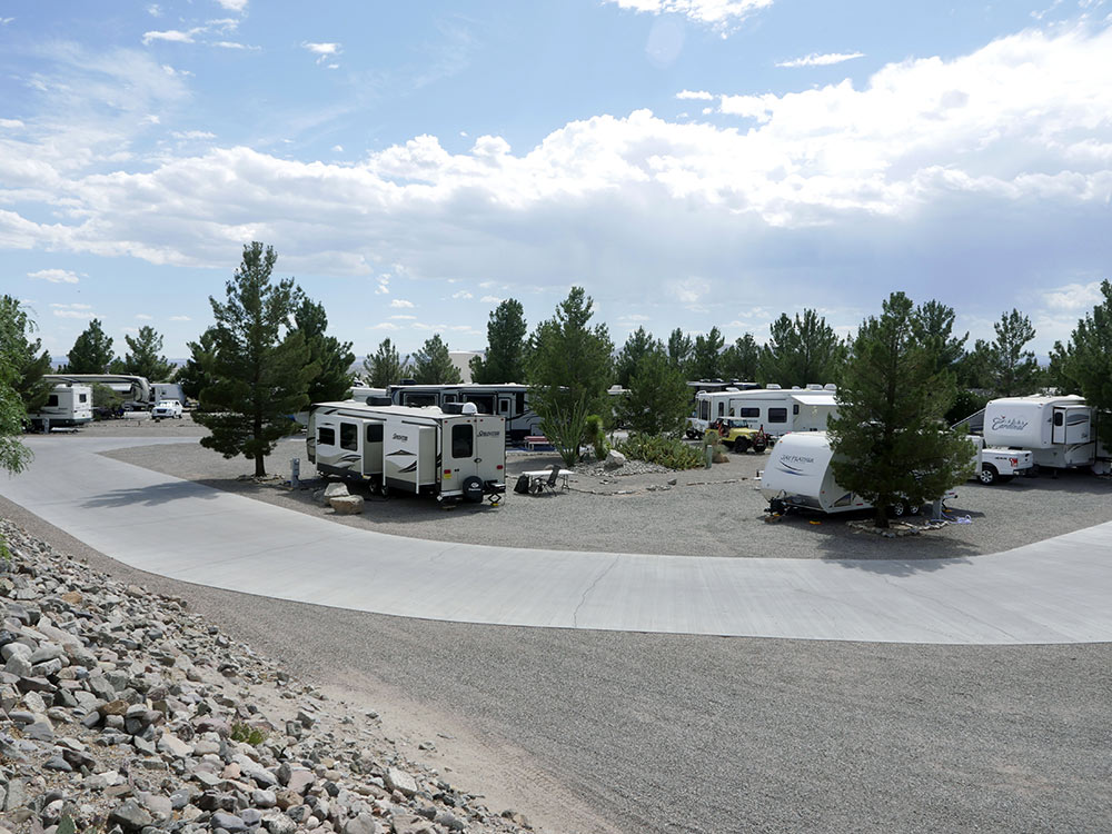 Travel Trailers in a roomy RV park.