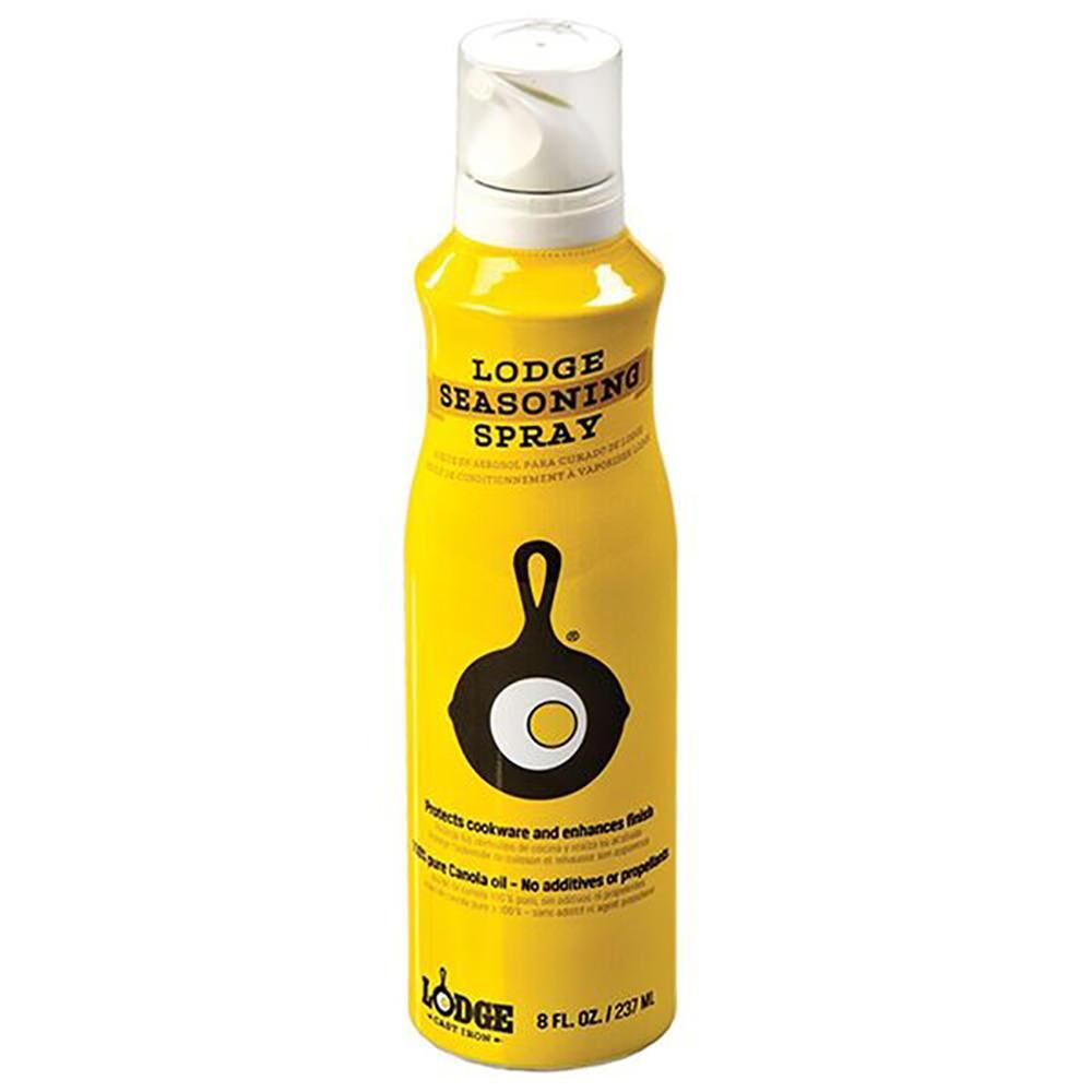 Yellow bottle of lodge seasoning spray.