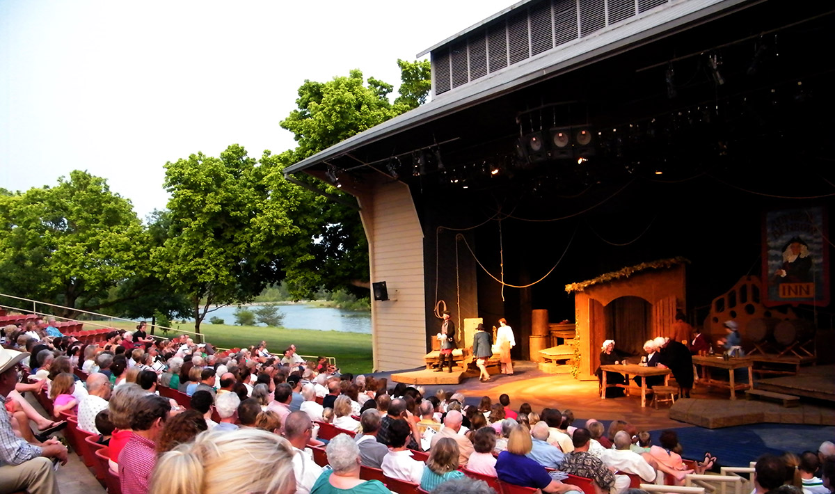 Performers in an outdoor theater