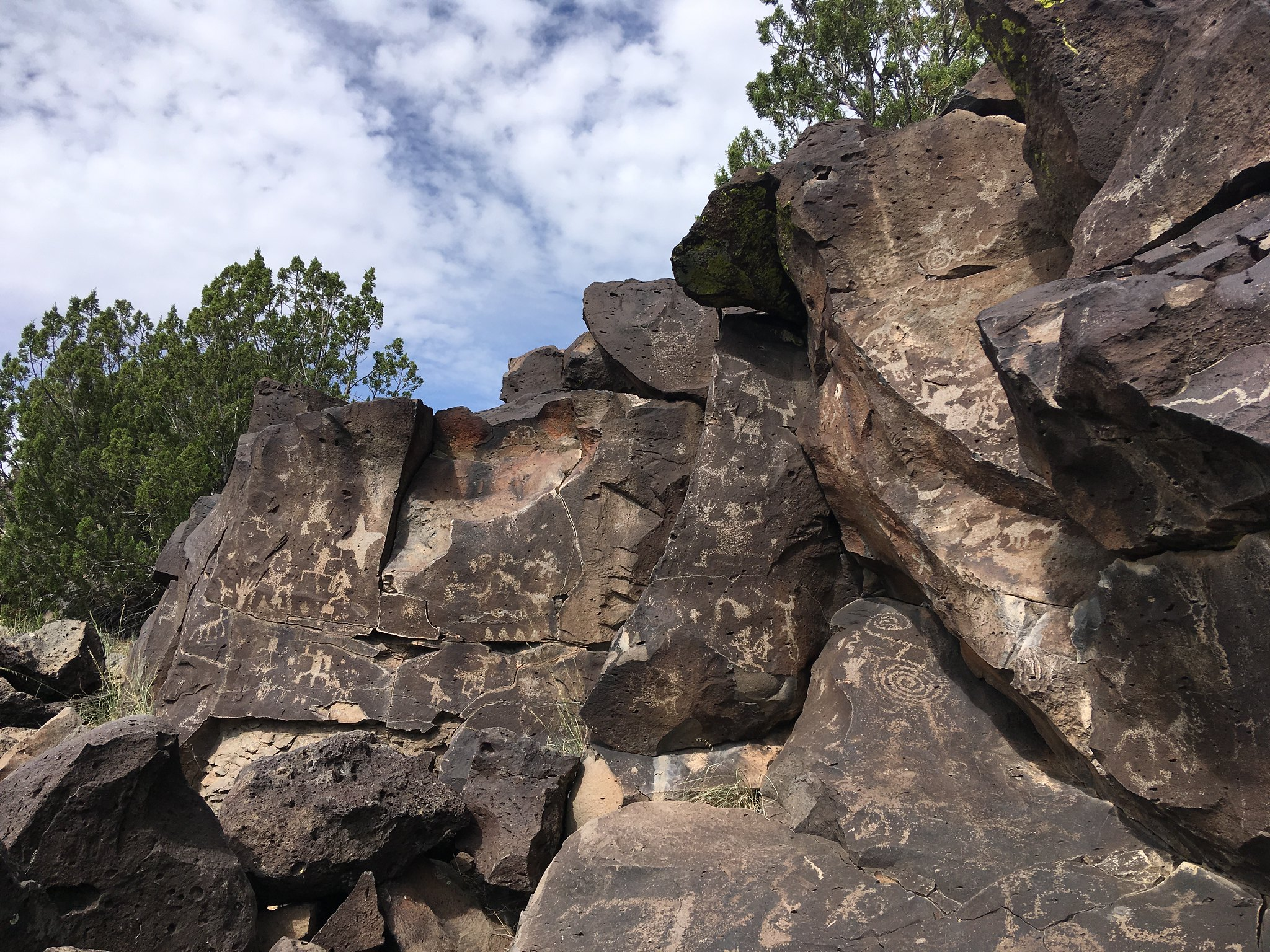 Petroglyphs etched in dark-colored rock.