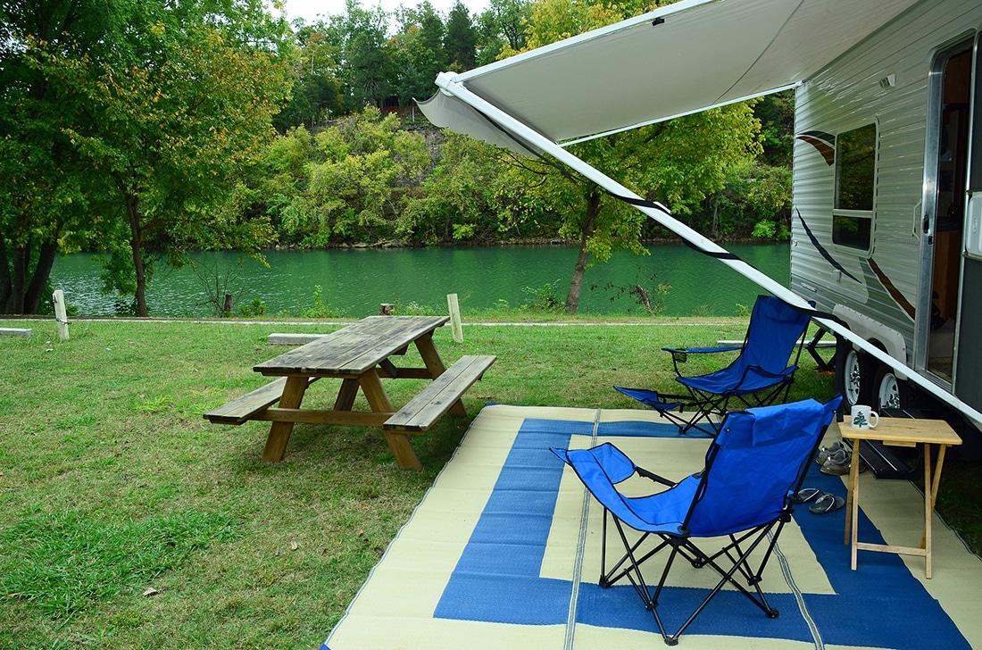 RV patio campsite near River.