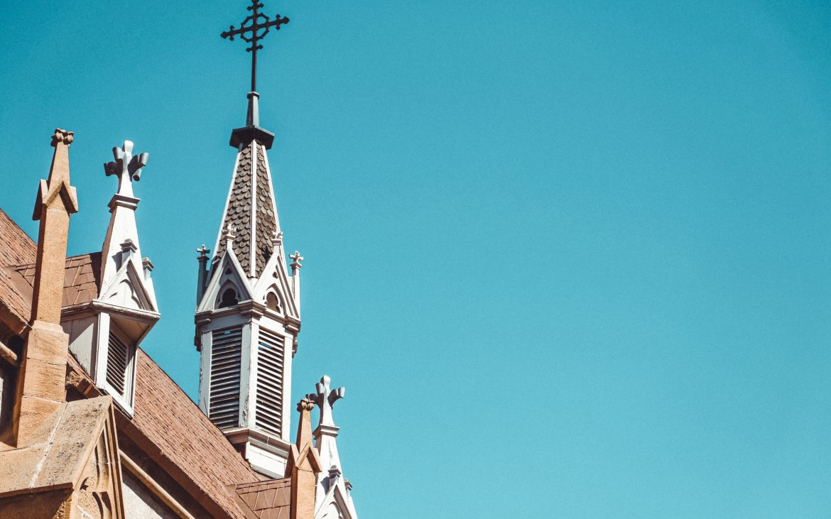 Top of church building in Santa Fe, New Mexico