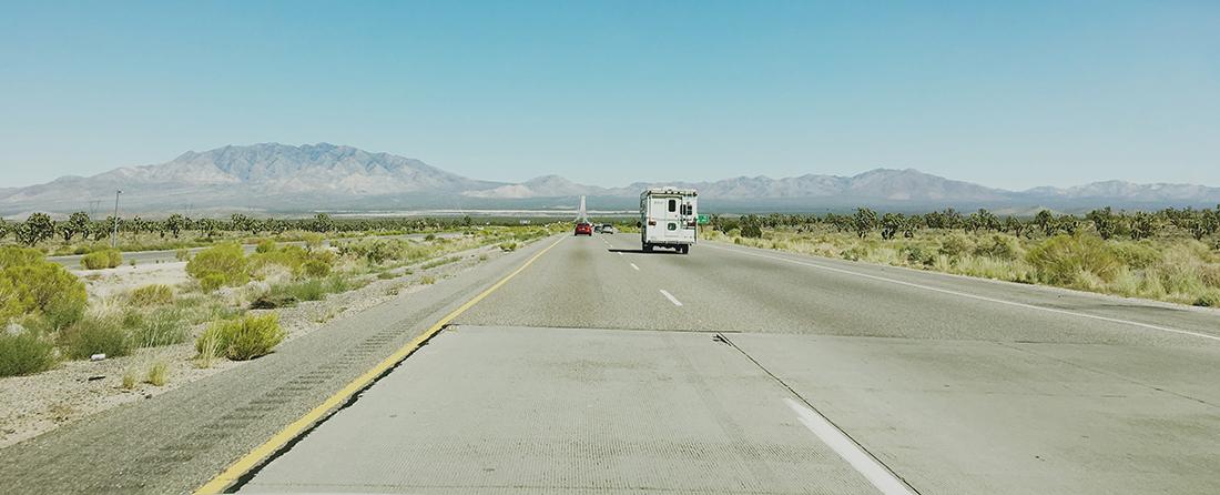 Long stretch of desert highway.