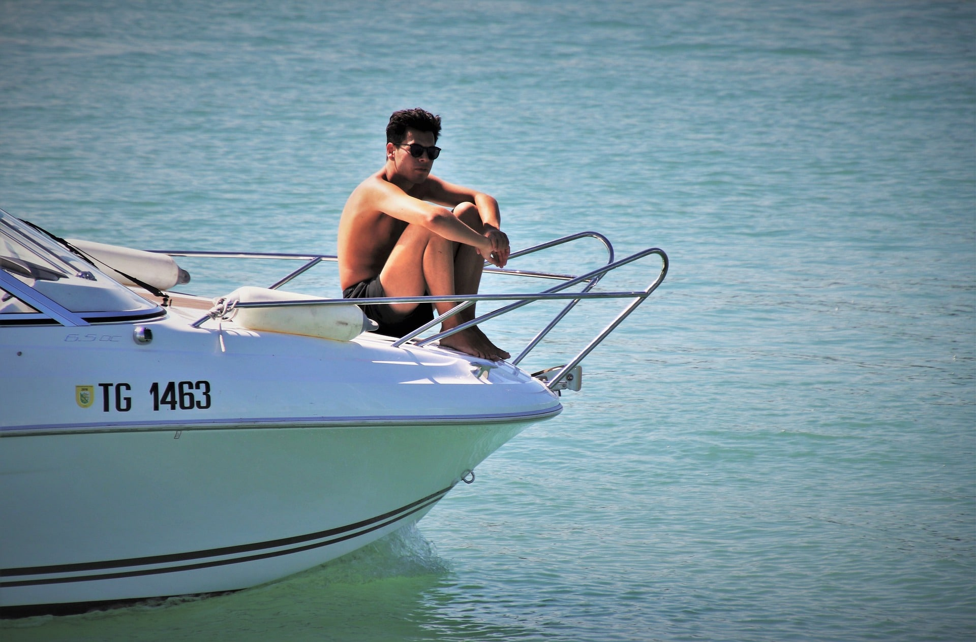 Man lounging in Boat