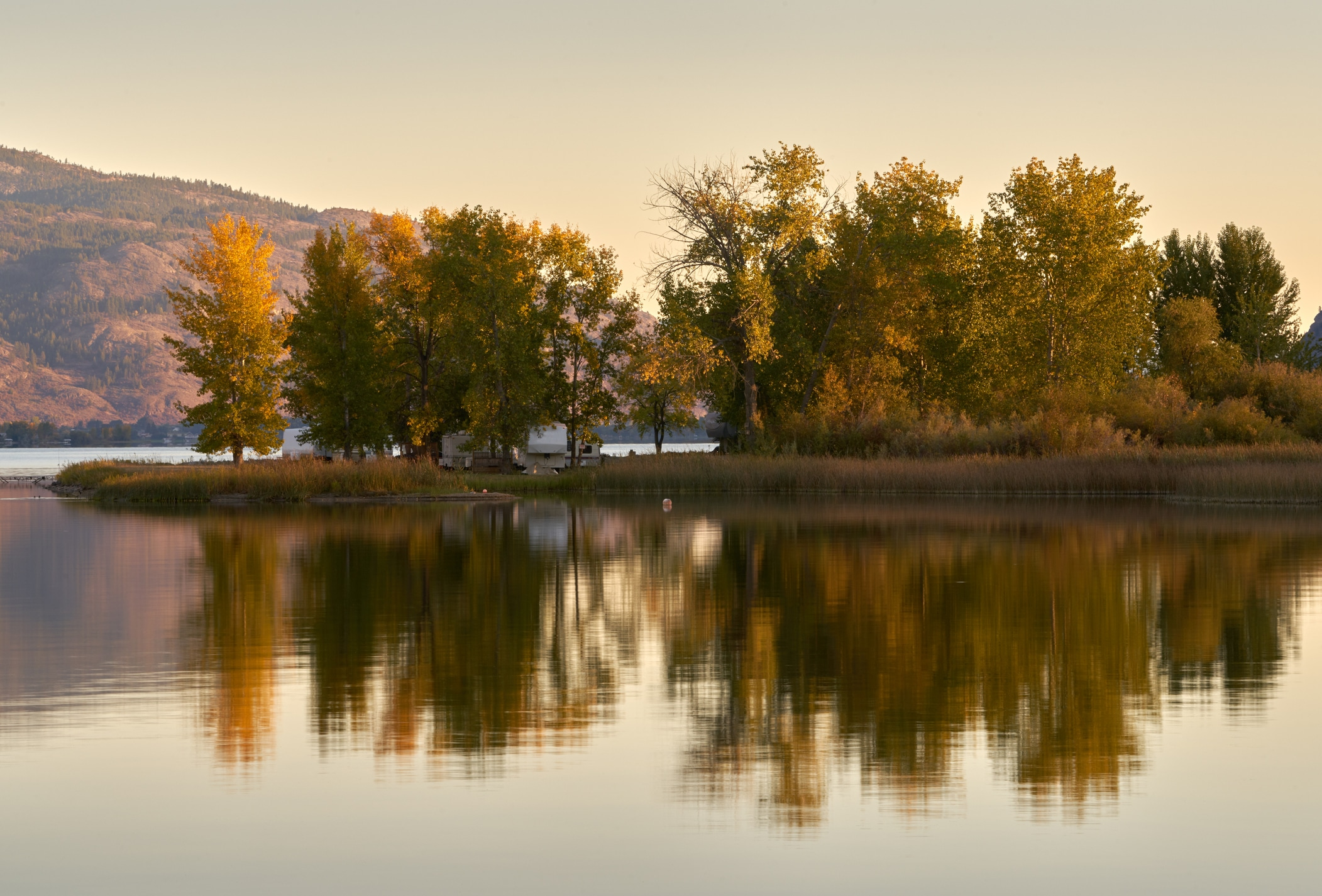 RVs at a lakeside retreat.