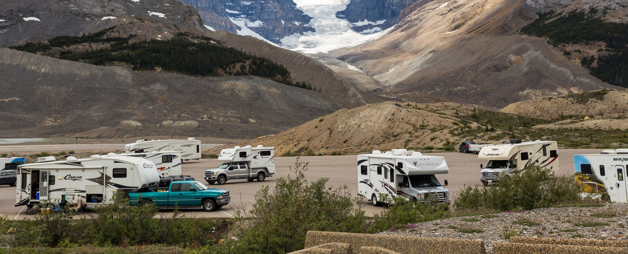 RVs parked in a public area.