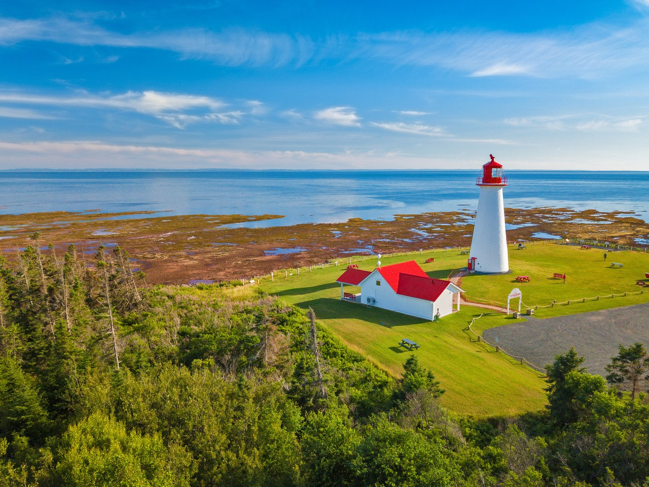 Lighthouse on a green expanse near the sea.
