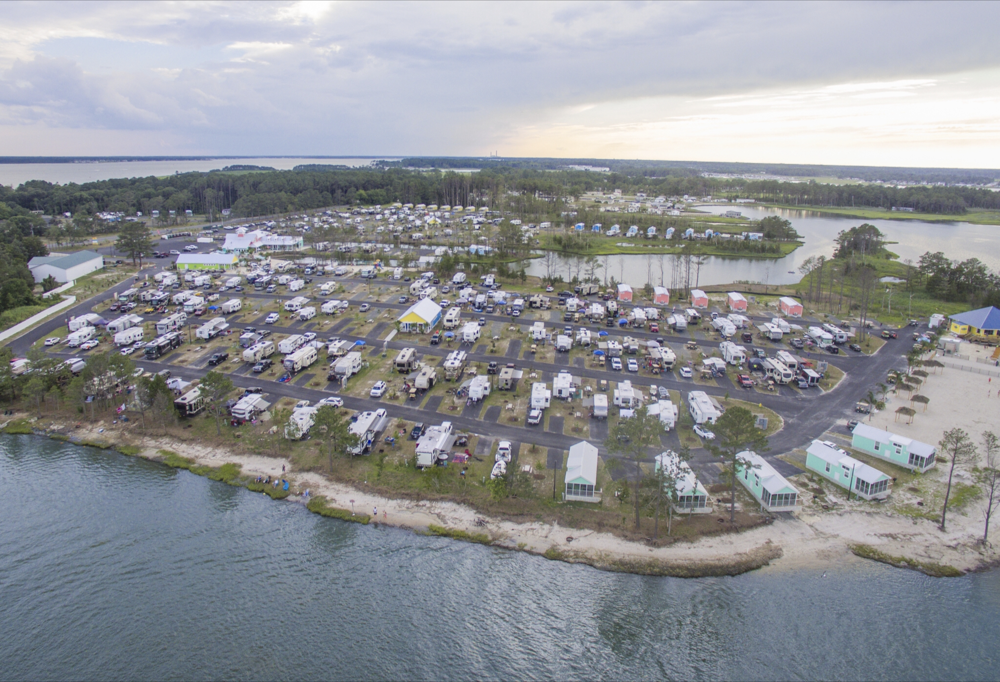 Aerial shot of beachside RV park.