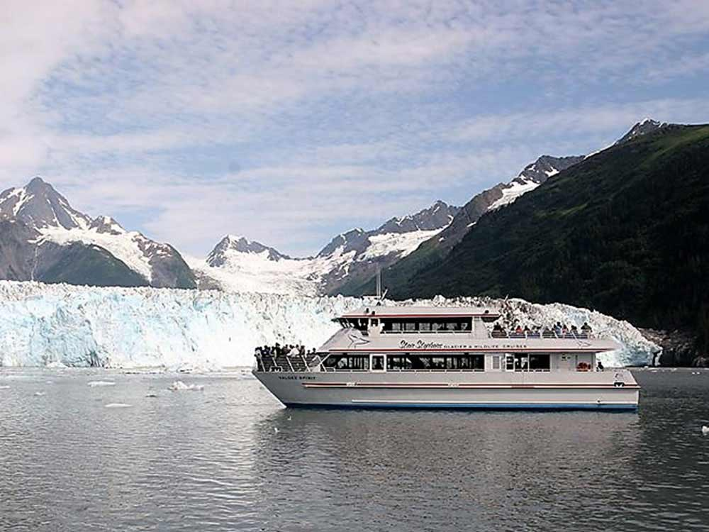 Passengers marvel at glaciers on a Stan Stephens Cruise.