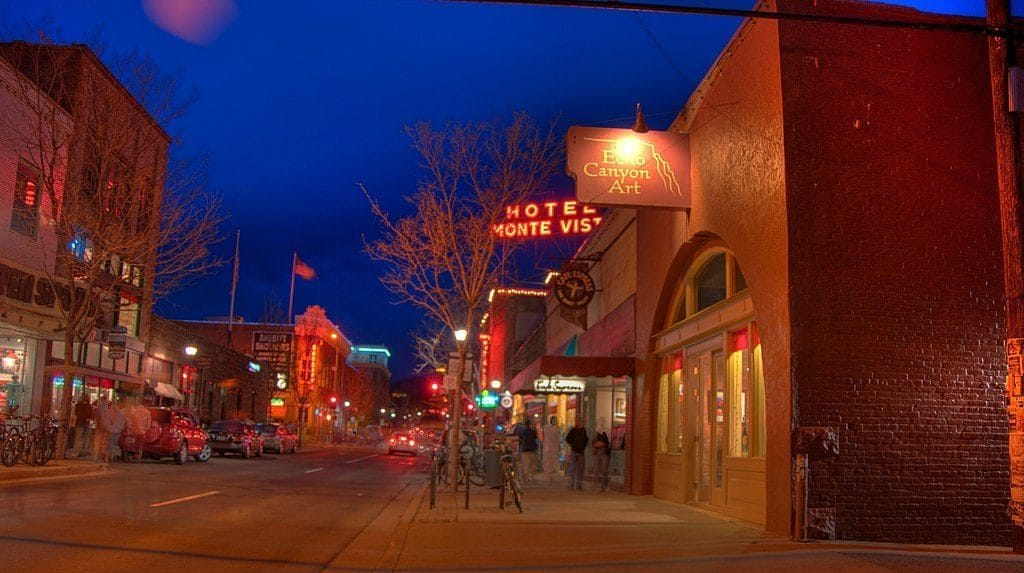 Street during the evening in Flagstaff.
