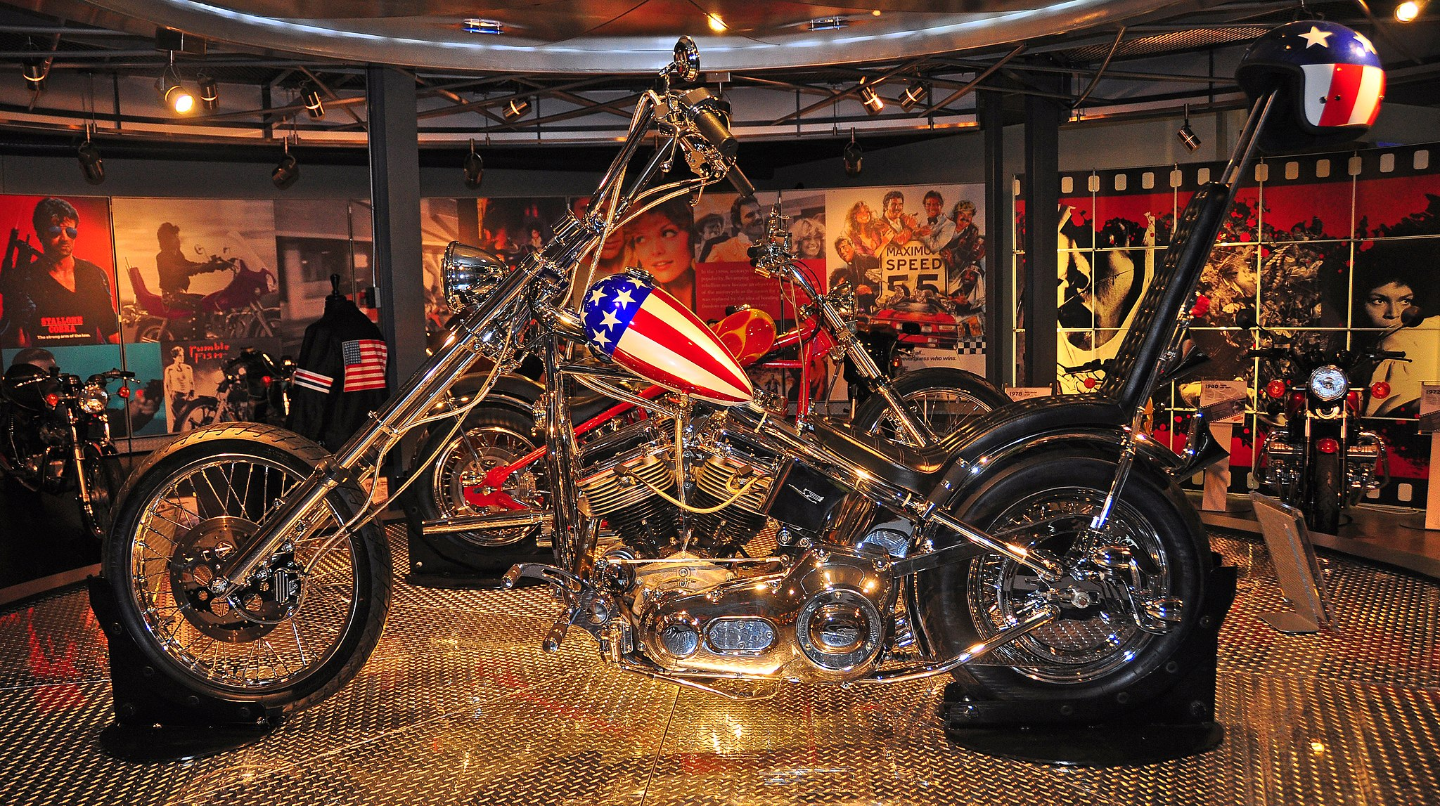 Chopper with red, white and blue fuel tank.