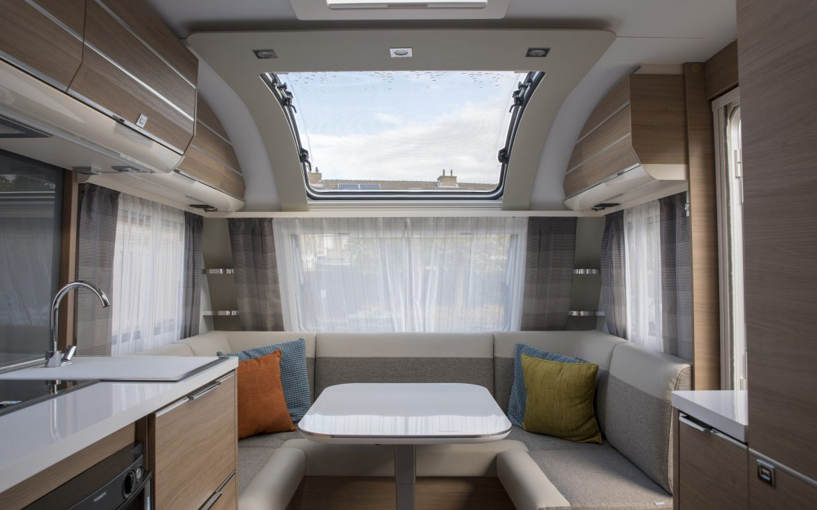 Indoor of new caravan with big roof window