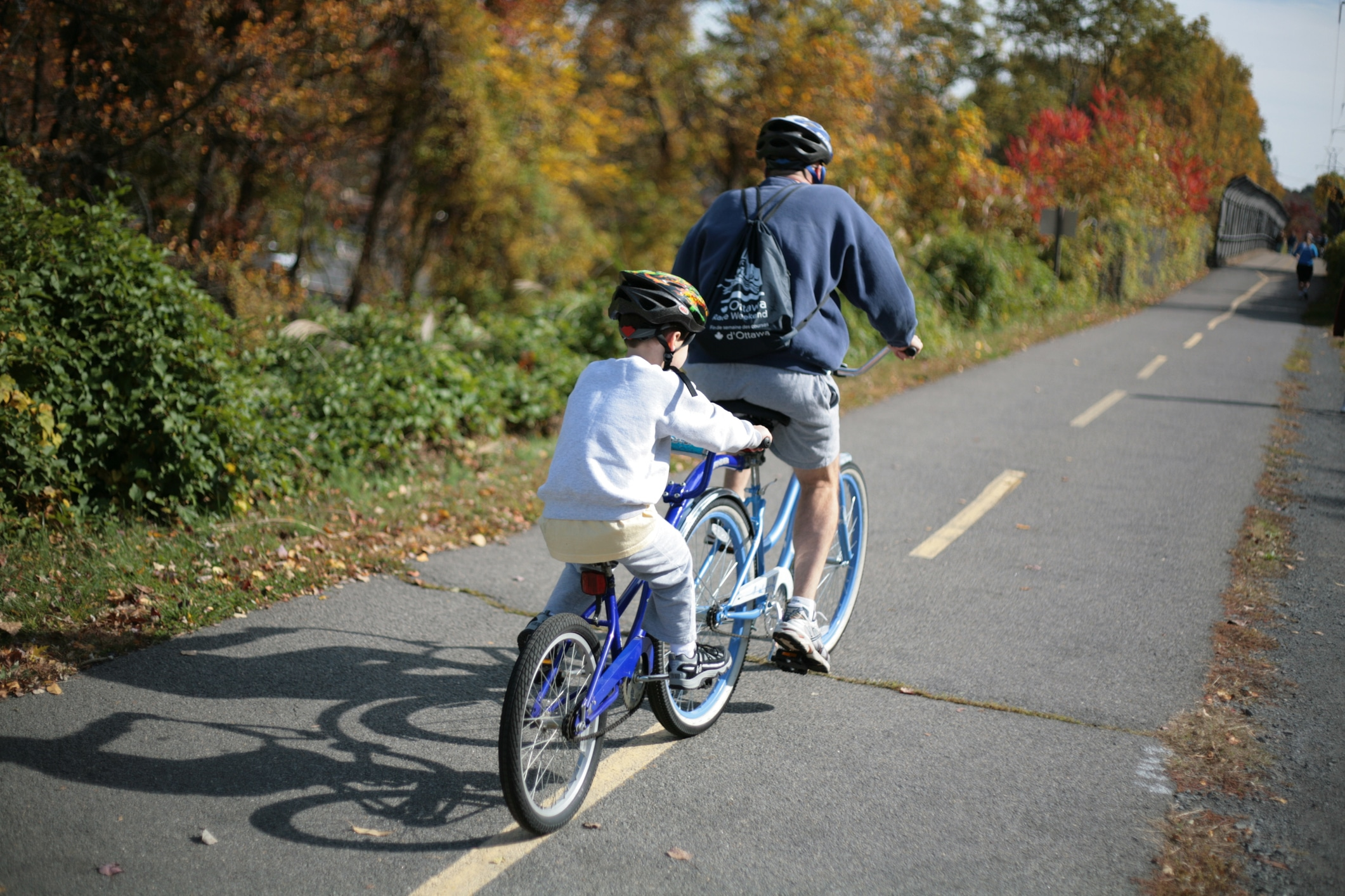 A father and son biking