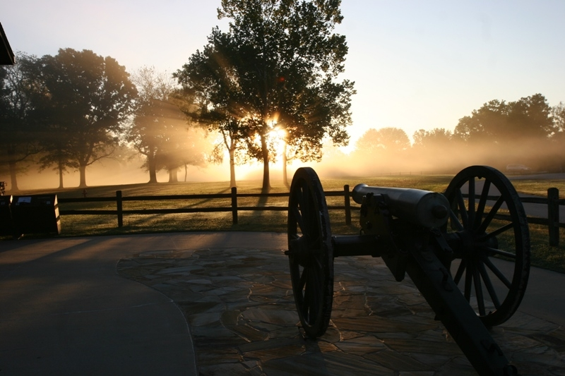 A cannon at dawn.
