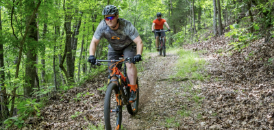 Cyclists ride down a forest trail.