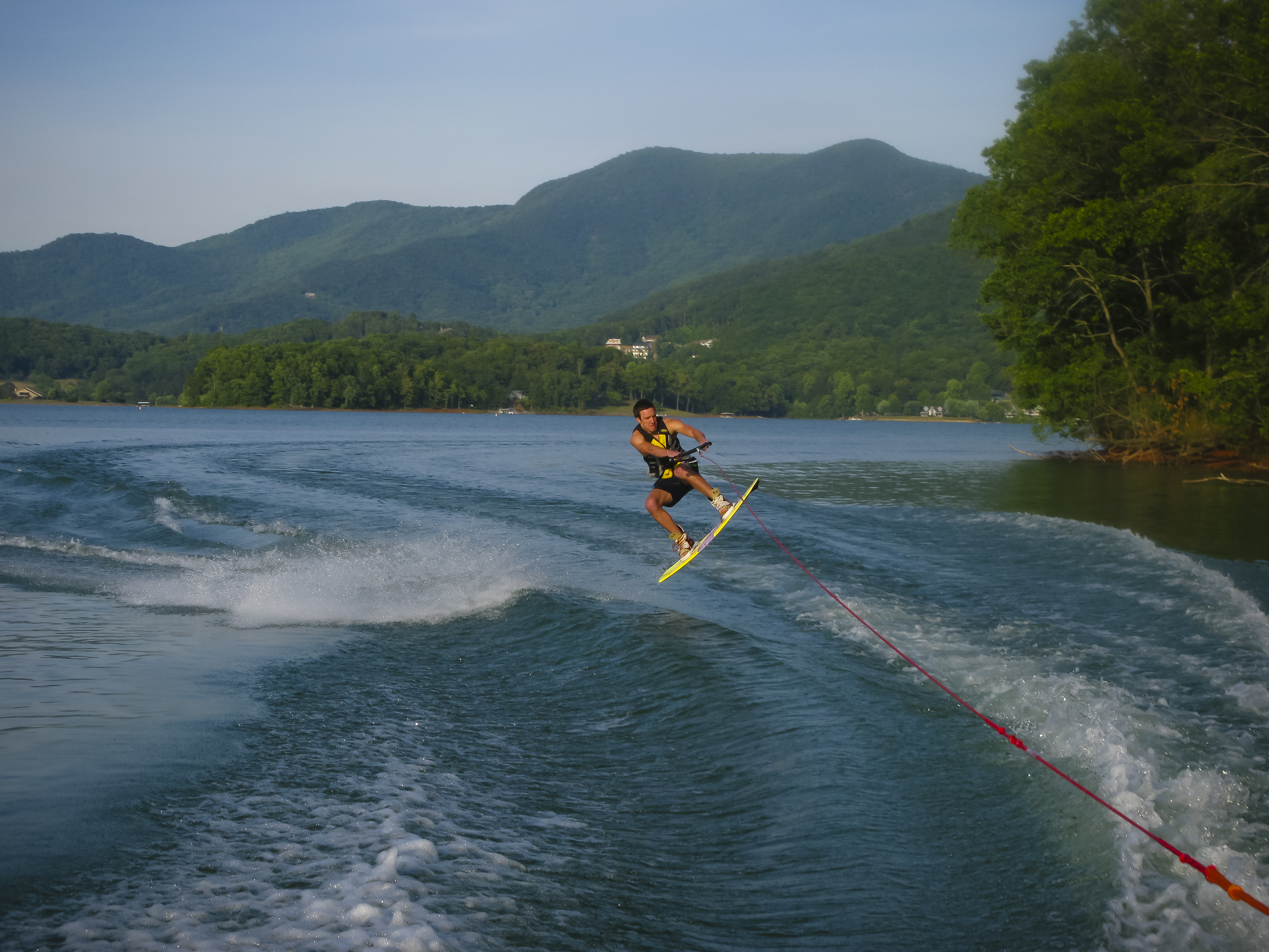 A water skier gets serious air.