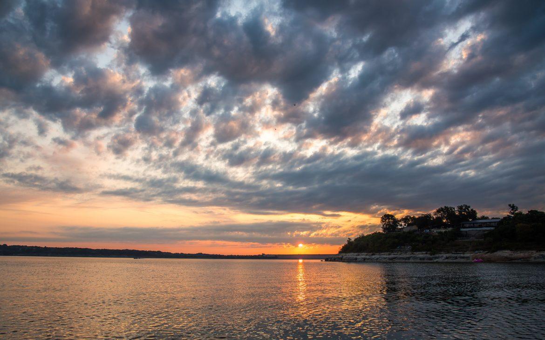 Lake Belton at sunrise in Temple Texas