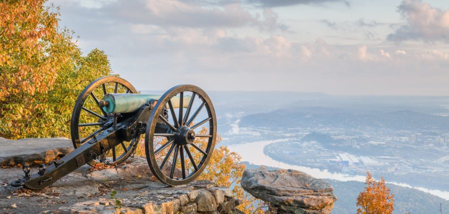 Chattanooga, Tennessee, view from Lookout Mountain at twilight.