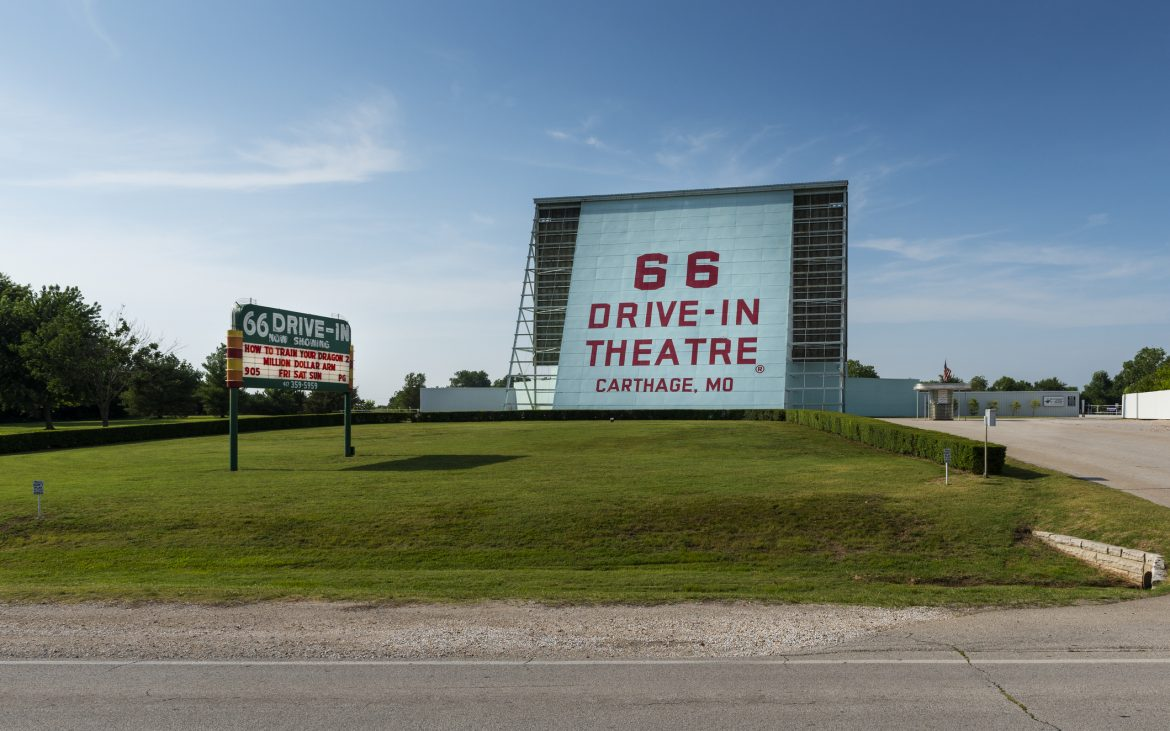 Billboard of the 66 Drive-In along the historic route 66 in the city of Carthage