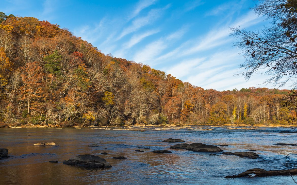 Scenic Chattahoochee River in Autumn