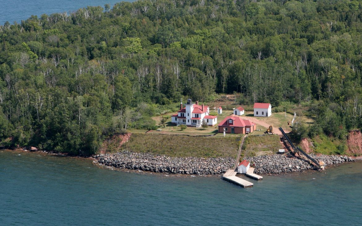 Aerial of Raspberry Island Lighthouse