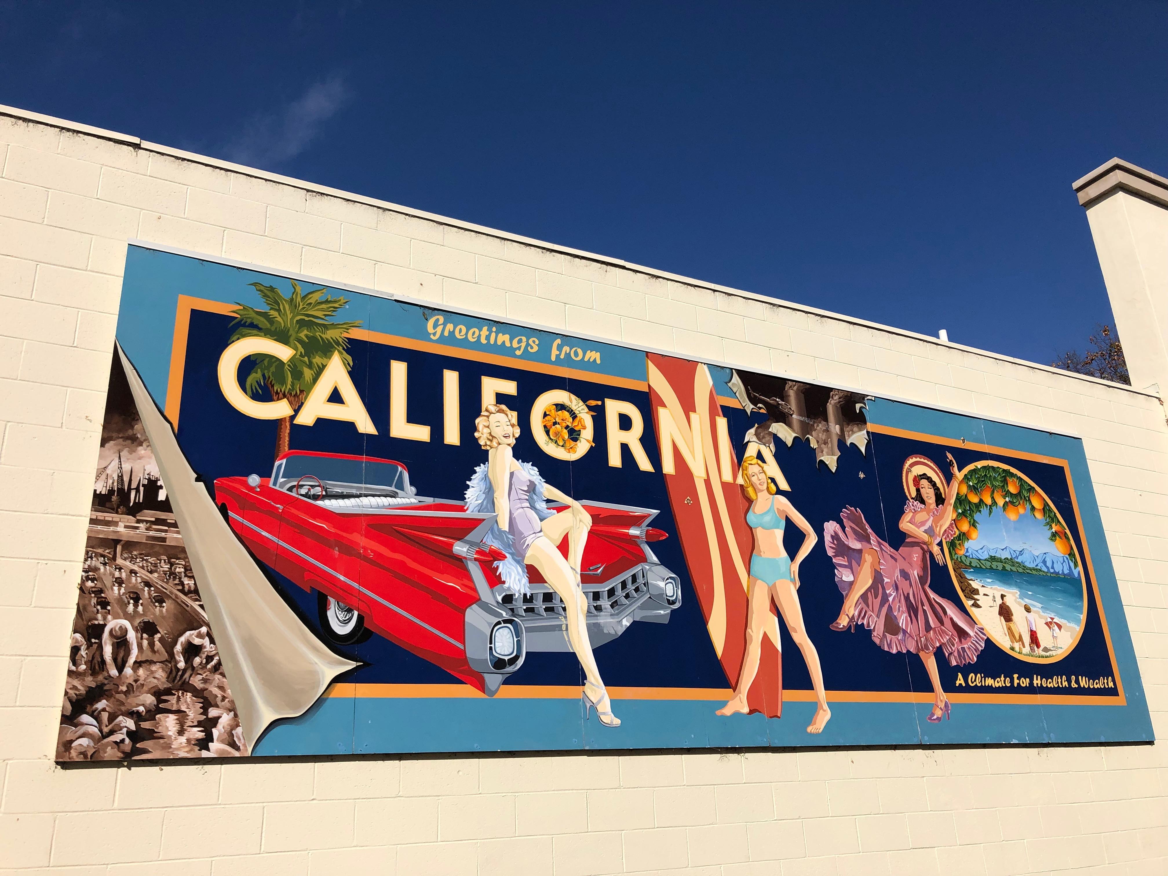 A mural celebrating California.