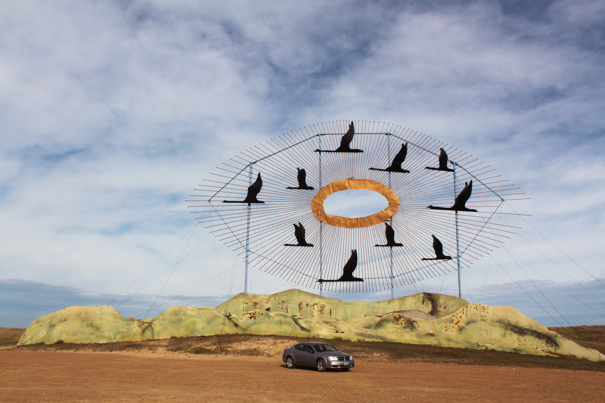 "The Enchanted Highway ""Geese in Flight"" sculpture"