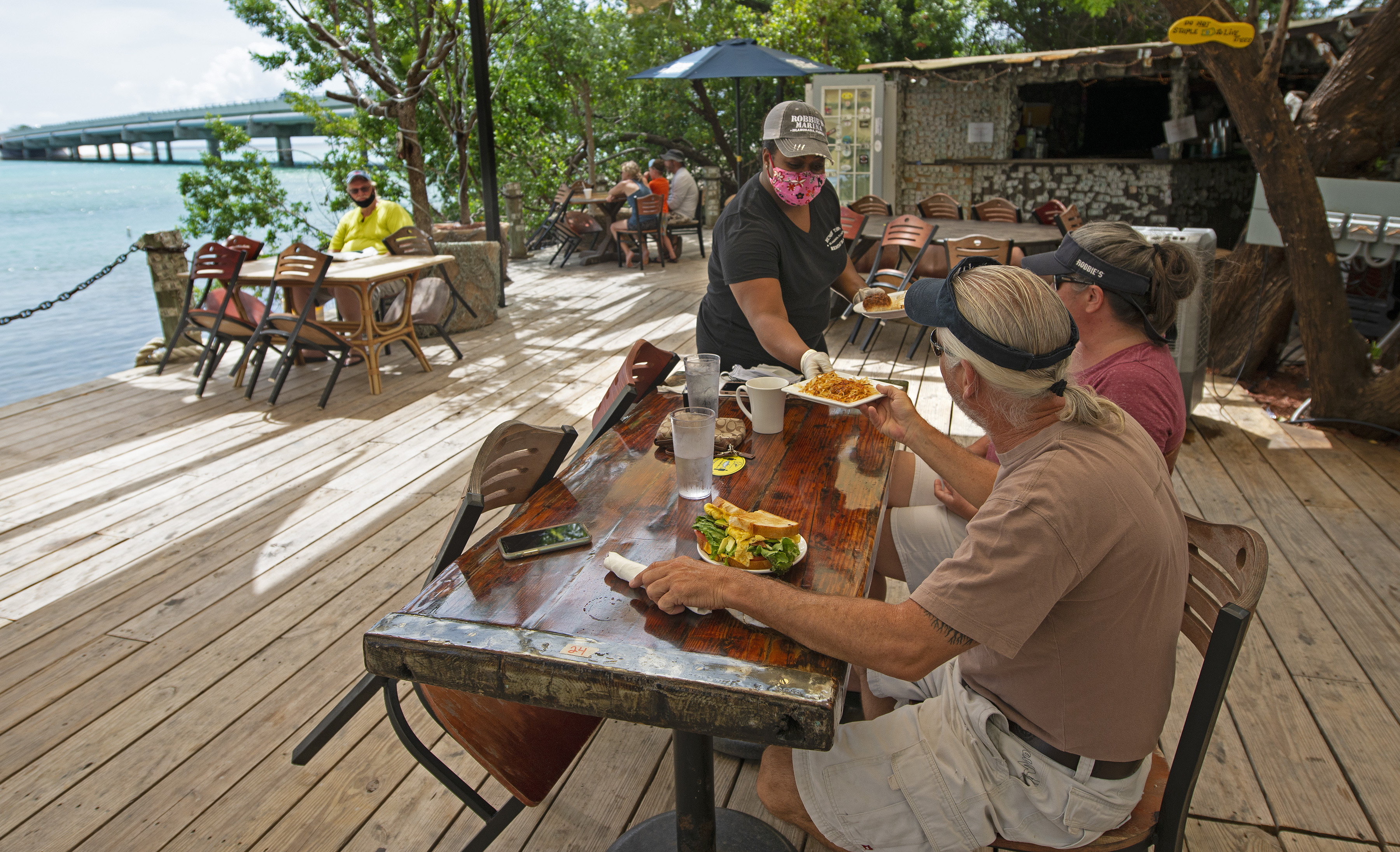 Patrons at a Florida Keys restaurant
