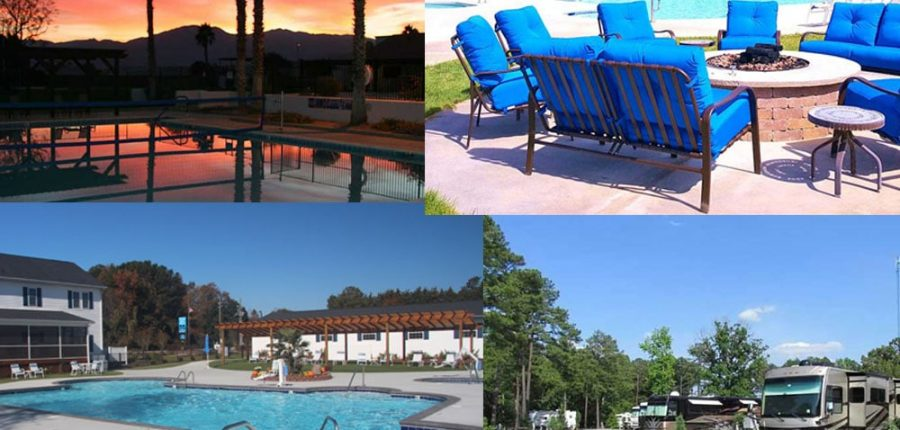 Collage of four RV parks