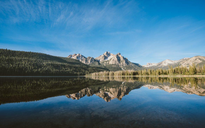 Beautiful reflection of mountains off of Stanley Lake, Idaho