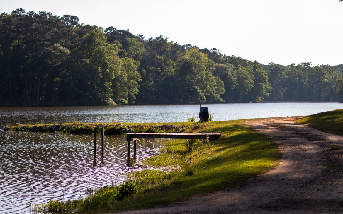 Small wooden dock at Pike County Lake, Alabama