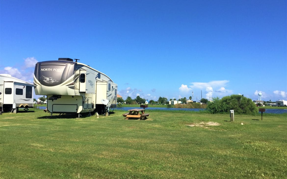 Bolivar Penninsula lakefront RV site with 5th wheel