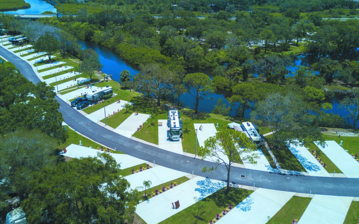 Ariel view of Bay Bayou RV Resort in Florida near waterways