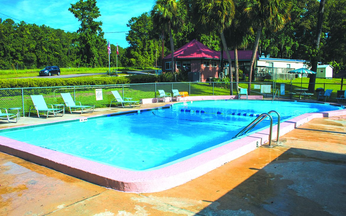 Pool enclosed by fence with palm trees and grassy area at Travelers Campground
