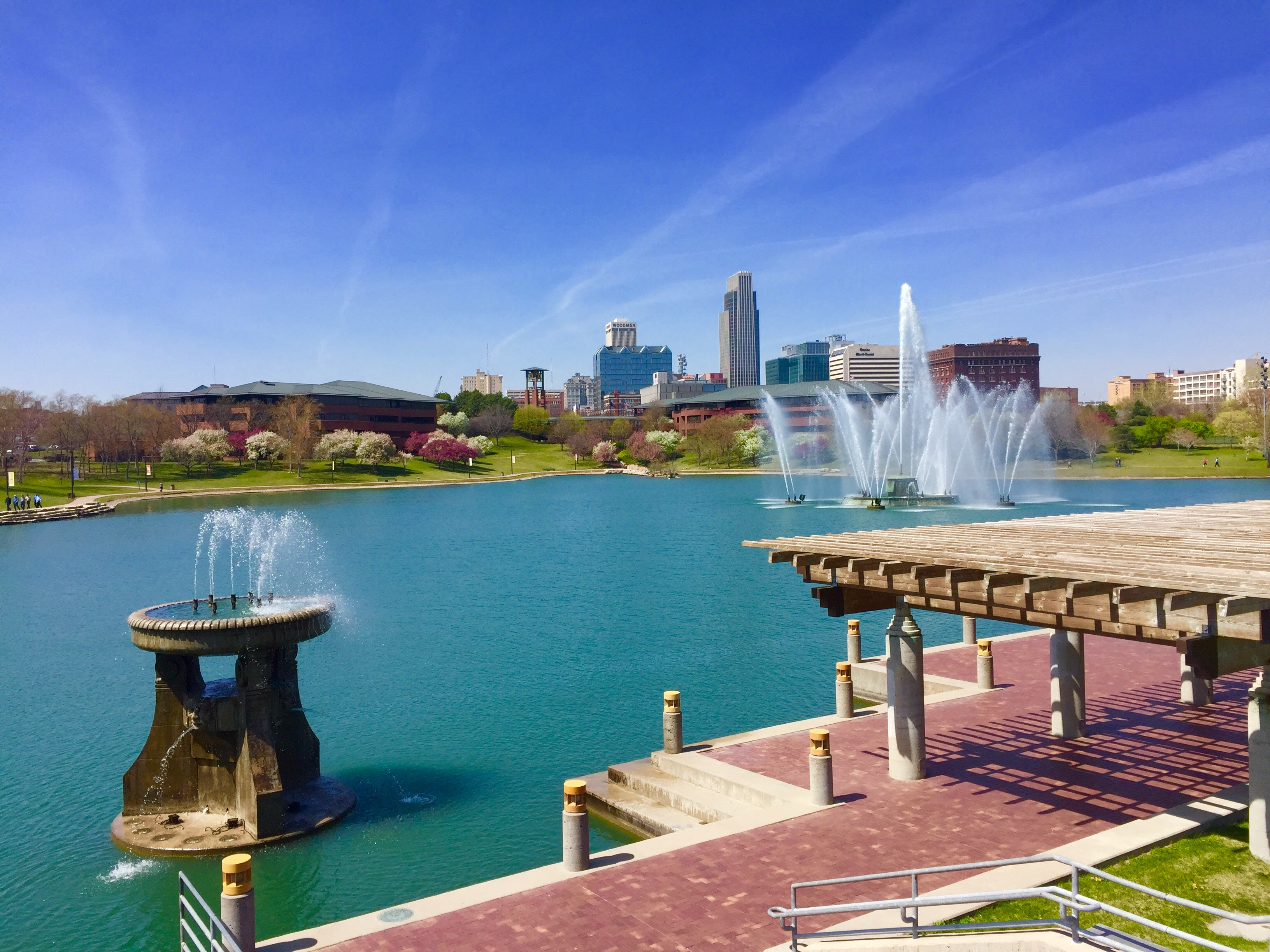 Fountains at Heartland of America Park in Omaha Nebraska