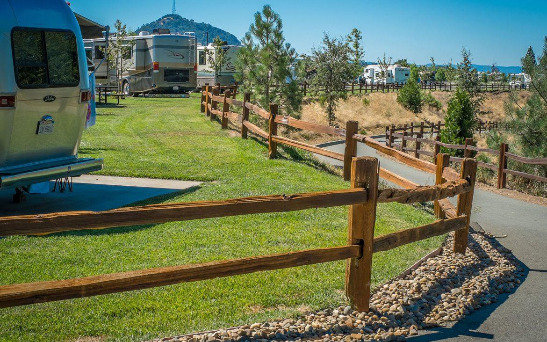 Jackson Rancheria RV Park in California walkway near Airstream RV