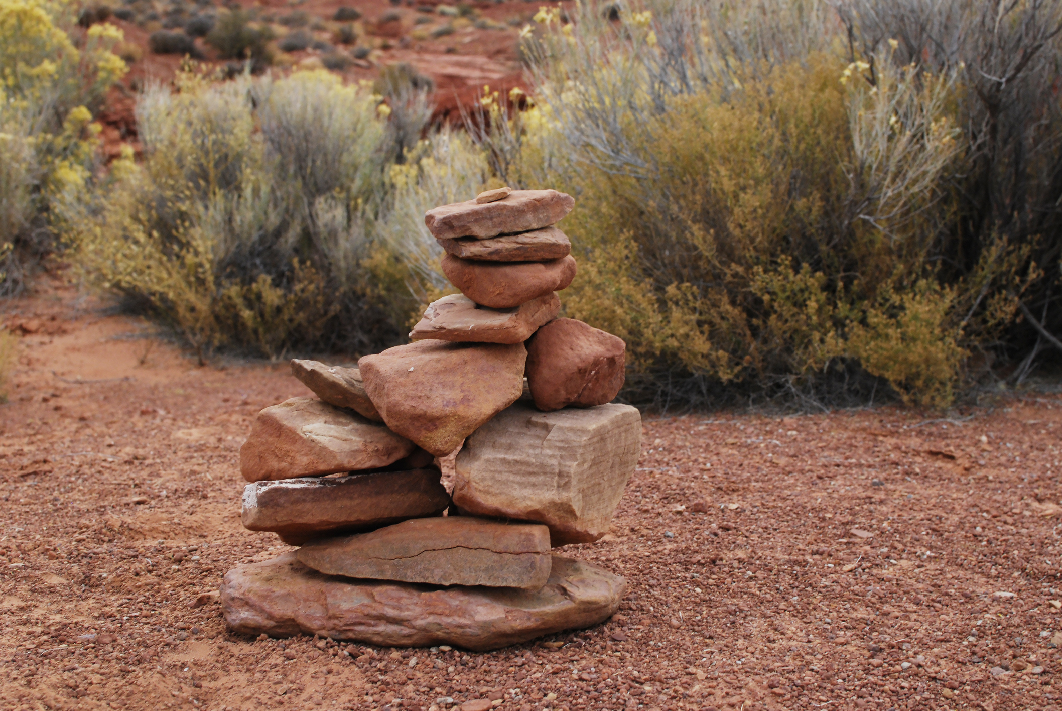 A pile of rocks marking a tril.