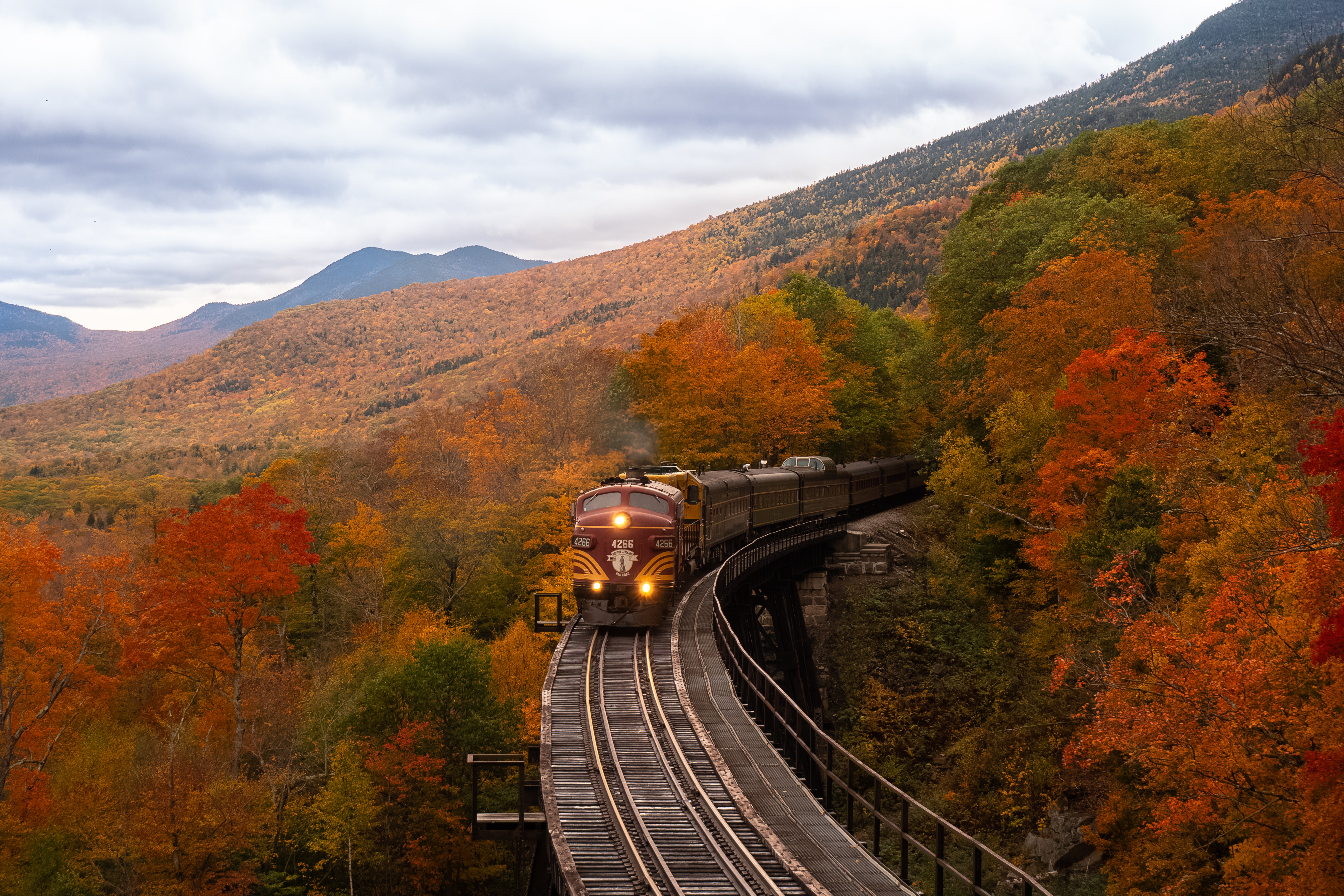 Train going through Autumn trees in New Hampshire