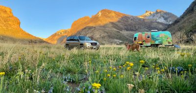 Camping in Lamoille Canyon with colorful Airstream trailer