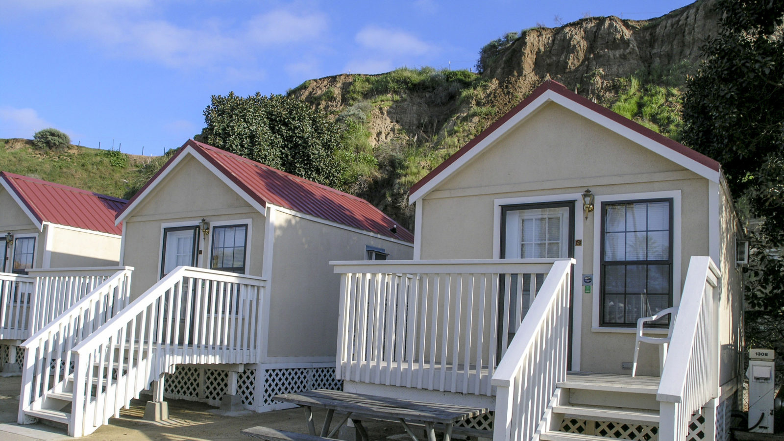 An attractive row of beach cottages.