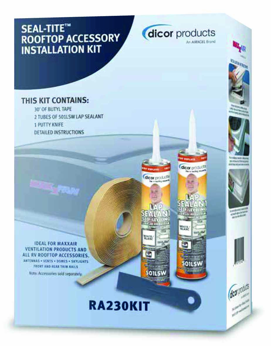 Box showing installation kit for rooftop accessories.