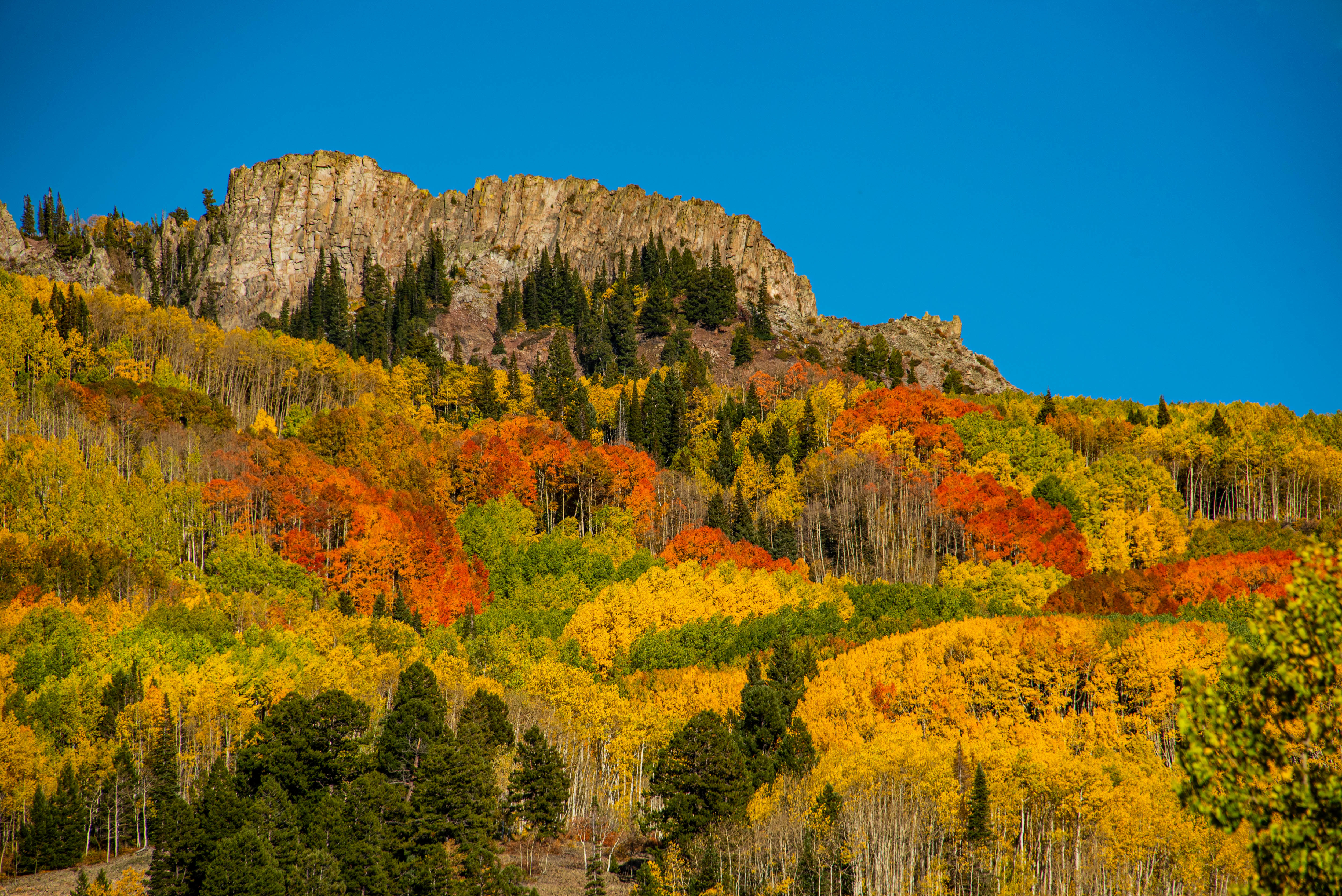 A rock outcropping crowns a forested ridge resplendent in fall colors.