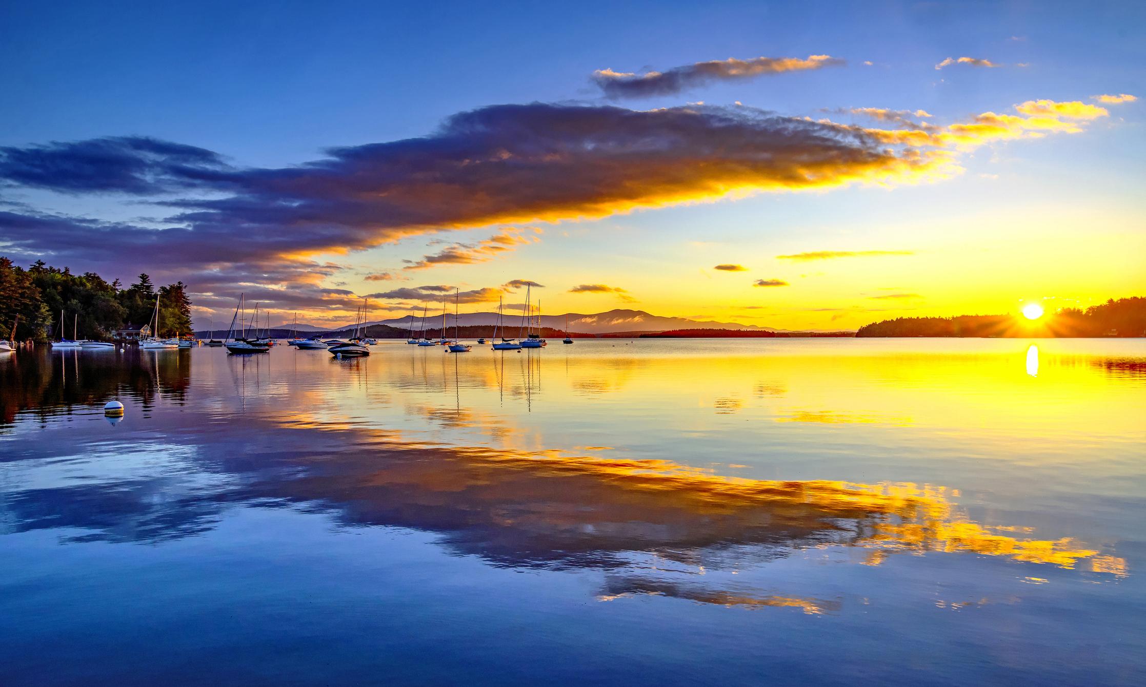 Early morning sunrise on Lake Winnipesaukee