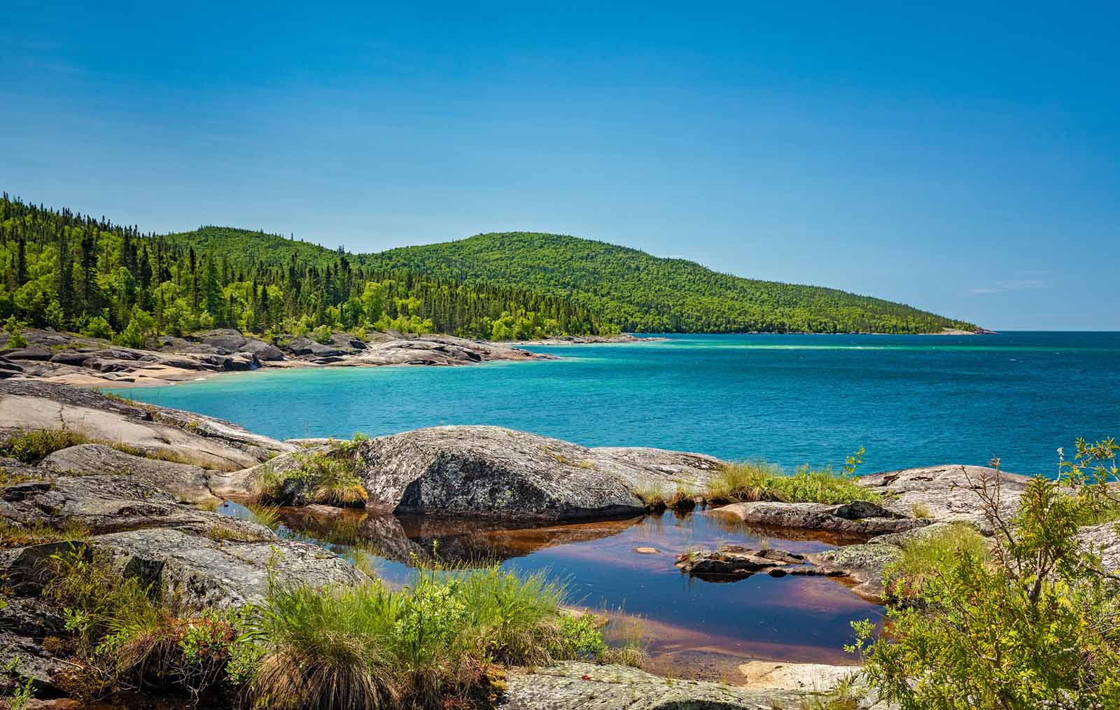 Under the Volcano Trail on the northern coast of Lake Superior at Neys Provincial Park, Ontario, Canada