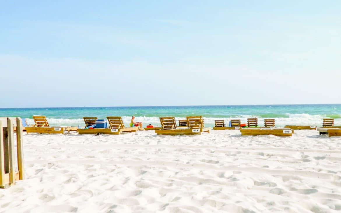 Wooden lounge chairs at Panama City Beach