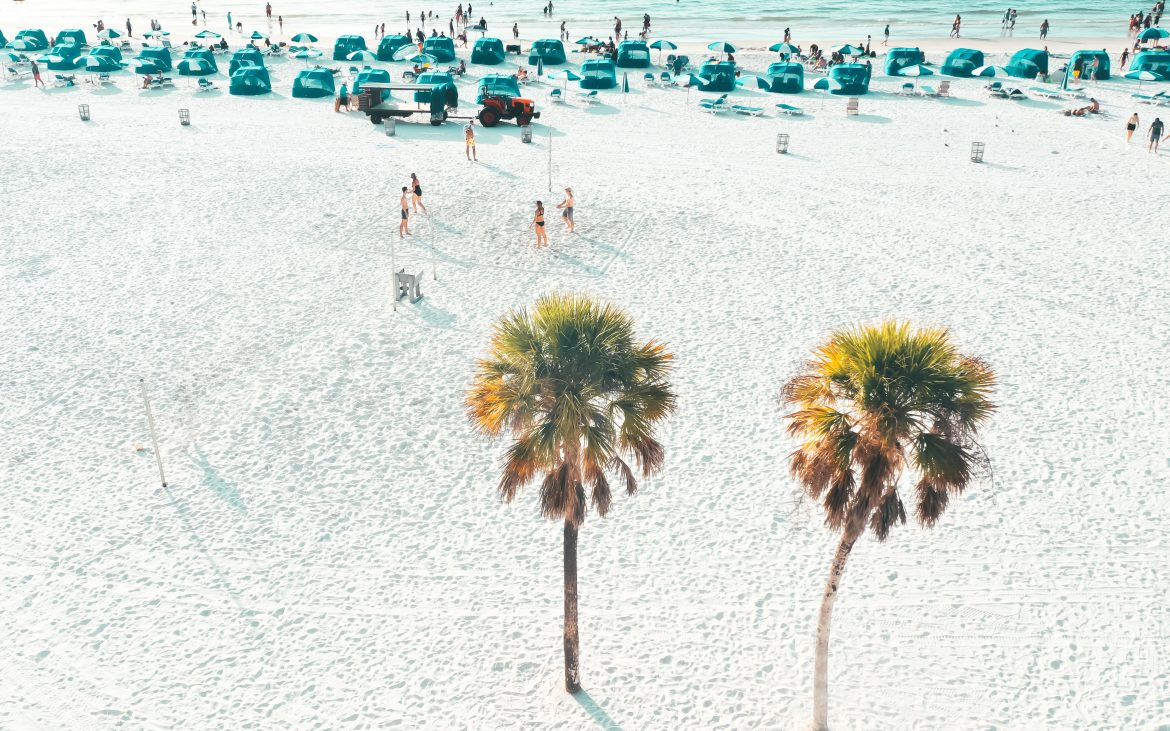 Turquoise beach tents at Clearwater Beach, Florida