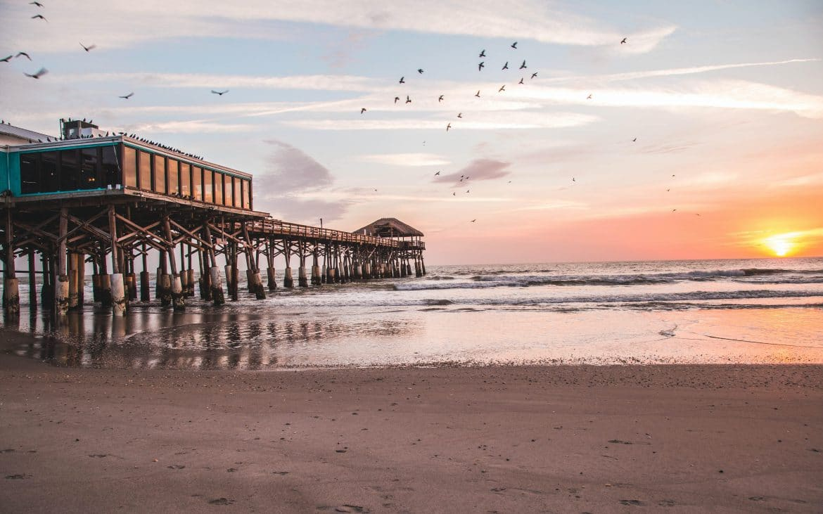 Birds over pier at Cocoa Beach, Florida
