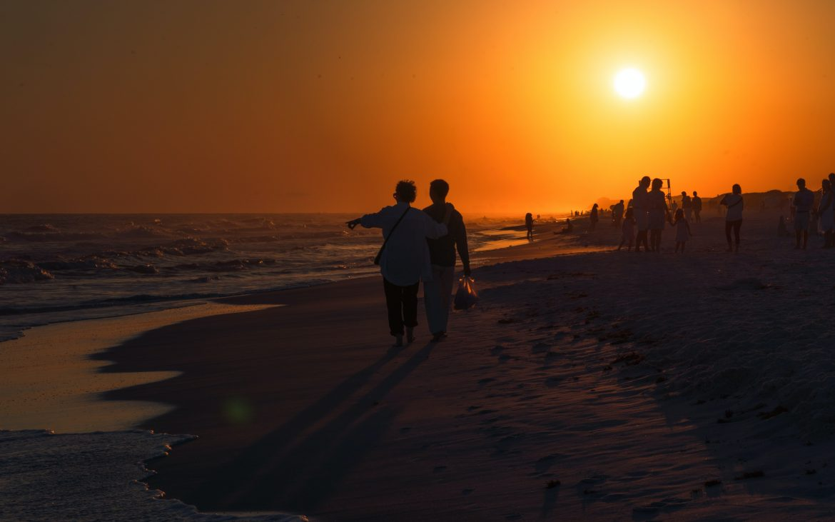 Couple walking on Vero Beach at sunset