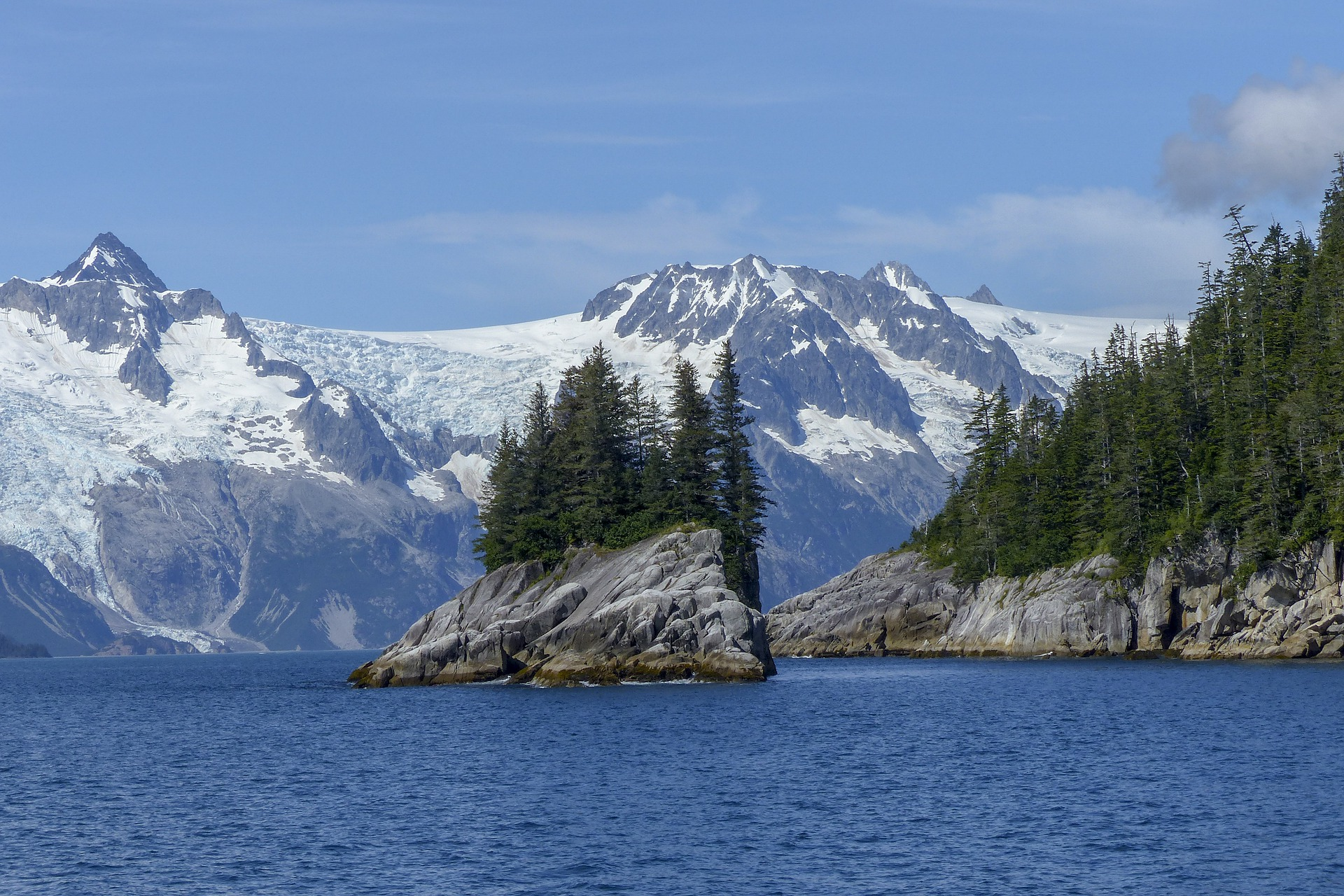 Small island with trees as glaciers loom in background.